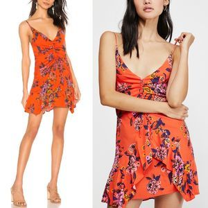 FREE PEOPLE Red Orange Floral Ruched Mini Dress